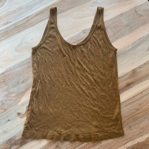 J. Crew Olive Green Cotton Tank with Sequins